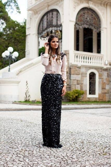 27582a1146 Sequin Maxi Outfit Idea #3. Wear a sequin maxi skirt with a nude blouse and  black heels.