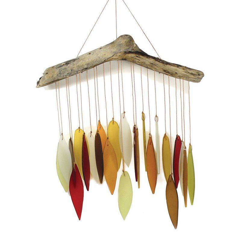 Have to have it. Blue Handworks Autumn Leaves and Driftwood Glass Chime - $34.99 @hayneedle