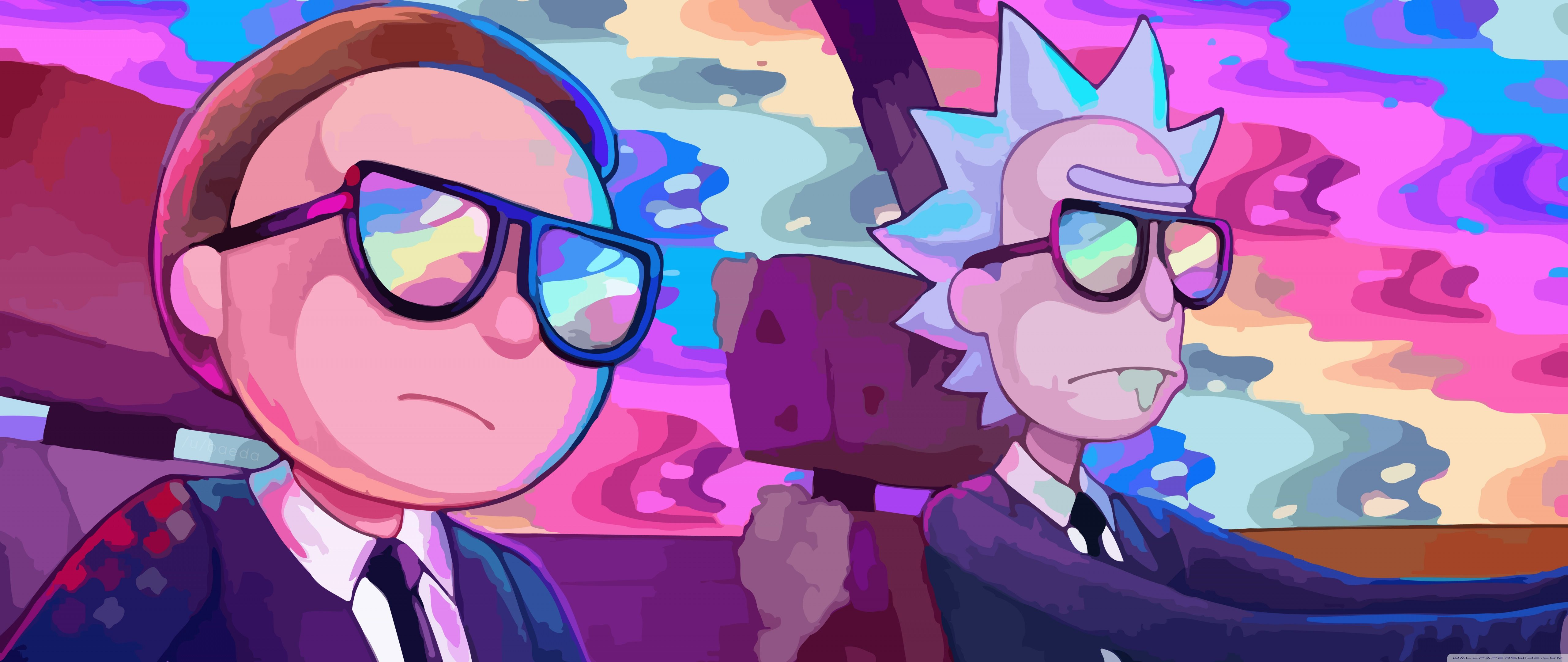 Download Ultrawide Rick And Morty Rainbow And Search More Hd Desktop And Mobile Wallpapers On Itl Cat Vektor