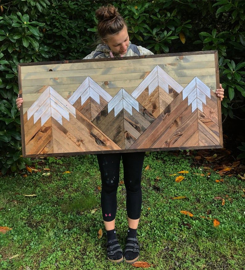 Large five rustic wood mountains wall art etsy in 2020