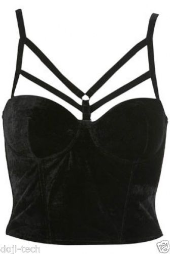 cf6f8dfae3e79 Topshop-Black-Velvet-Caged-Harness-Crop-Corset-Vtg-Celebrity-Bralet-Top -10-38-S