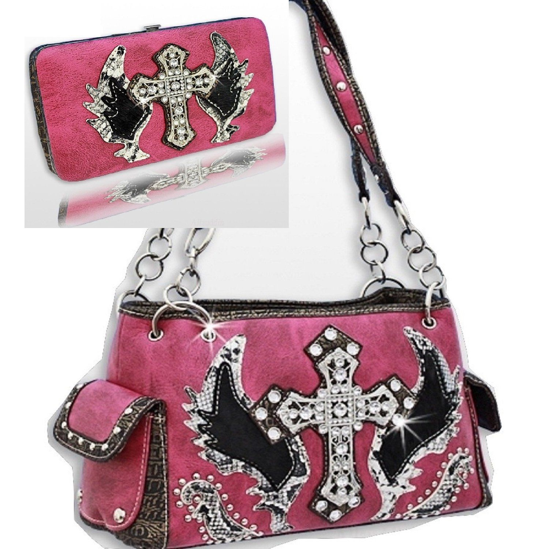 Handbags Bling More Dark Pink Cross Wing Rhinestone Purse W Matching Wallet