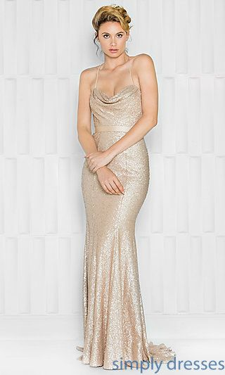 Long Sequin Open Back Cowl Neck Prom Dress  7f703f62f