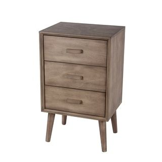 Privilege Desert Brown Wood Mid Century 3 Drawer Accent Table By Privilege