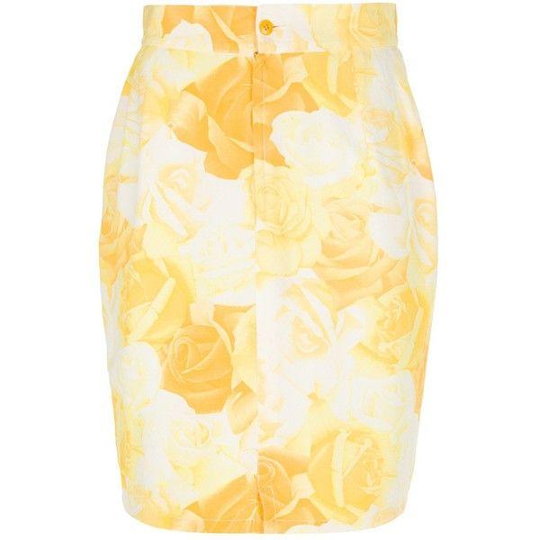 Versace Vintage Rose Print Pencil Skirt ($222) ❤ liked on Polyvore featuring skirts, vintage pencil skirts, versace skirt, beige skirt, beige pencil skirt and knee high skirts