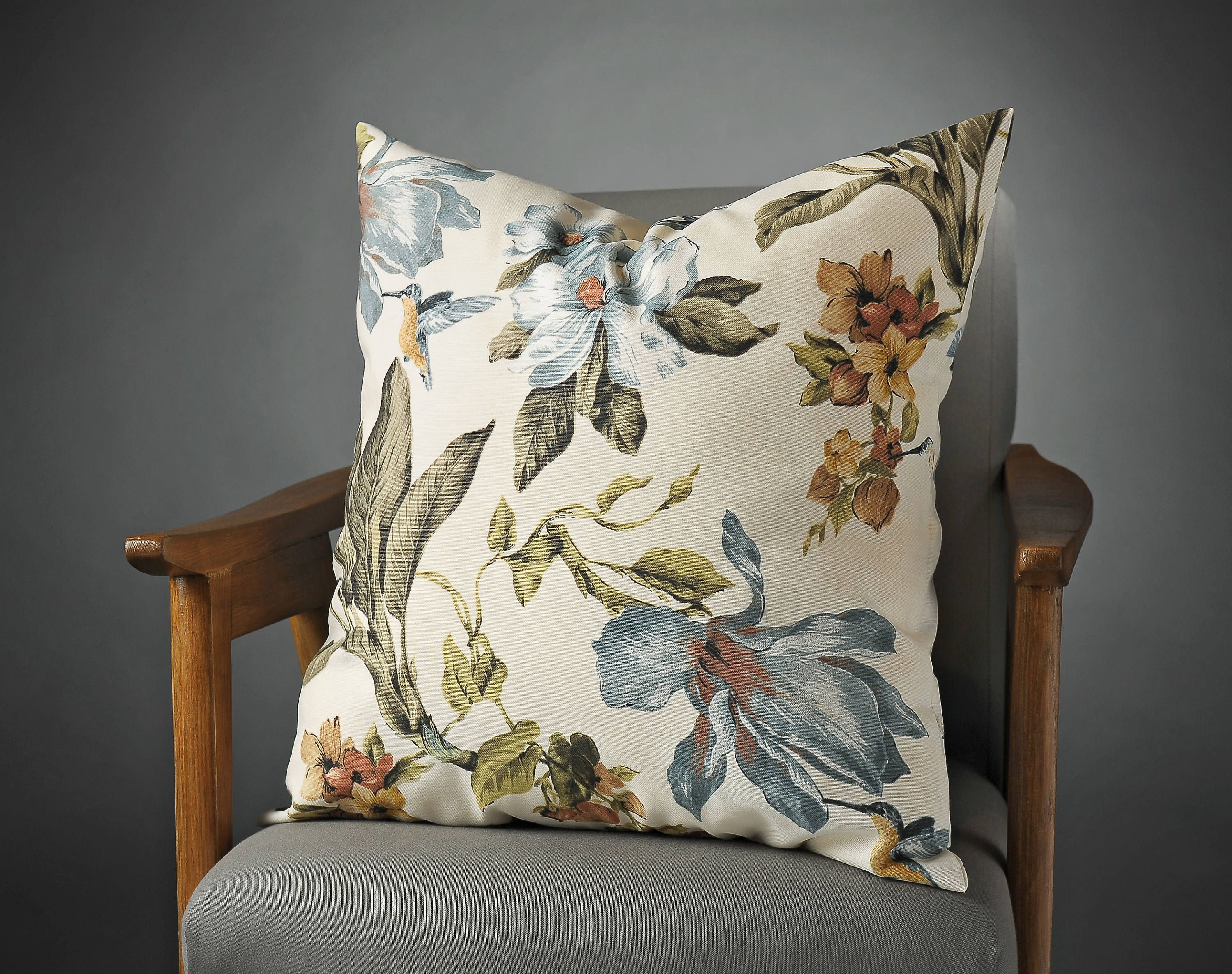 Blue Floral Cotton Pillow Cover In Custom Etsy Blue Floral Pillows Light Blue Pillows Blue Pillow Covers