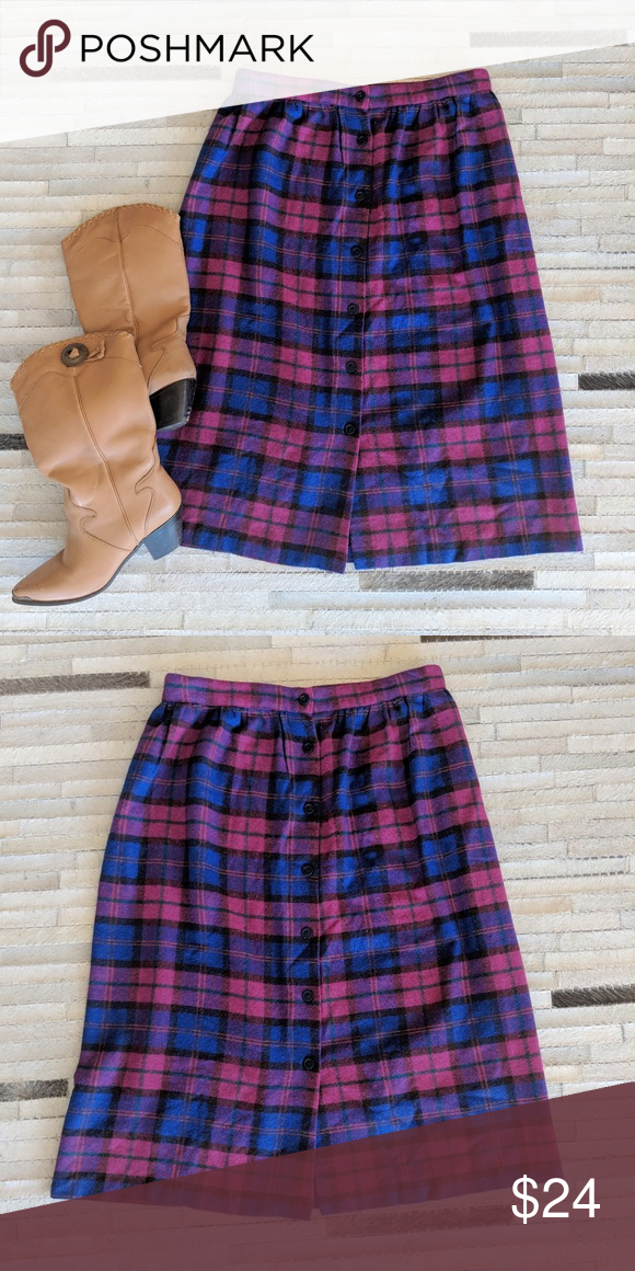 f40f021df71c Vintage wool plaid skirt Vintage wool blend plaid midi skirt. Waist-32  Length-28in #pinkplaid #midcentury #woolskirt Skirts Midi