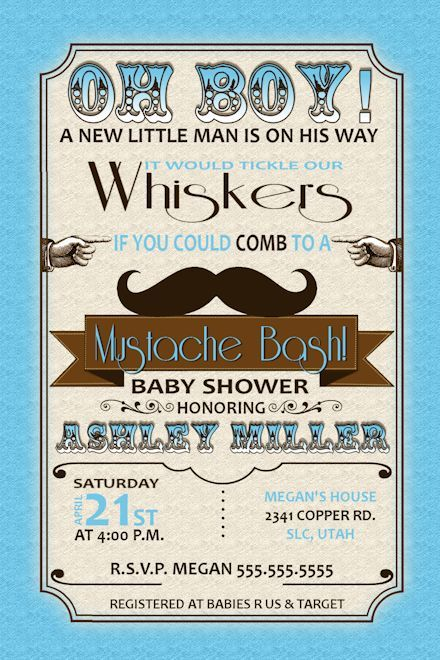 Little Man Baby Shower Invitations   Mustache Bash Baby Shower Baby Boy