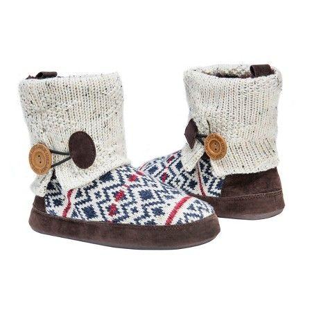 Women's MUK LUKS® Patti Fair Isle Sweater Knit Bootie Slippers - White XL…