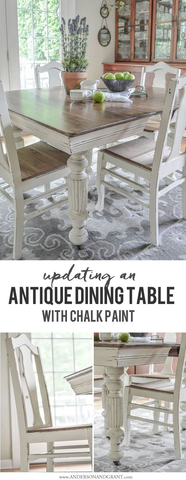 Antique Dining Table Updated with Chalk Paint | Vorher nachher ...