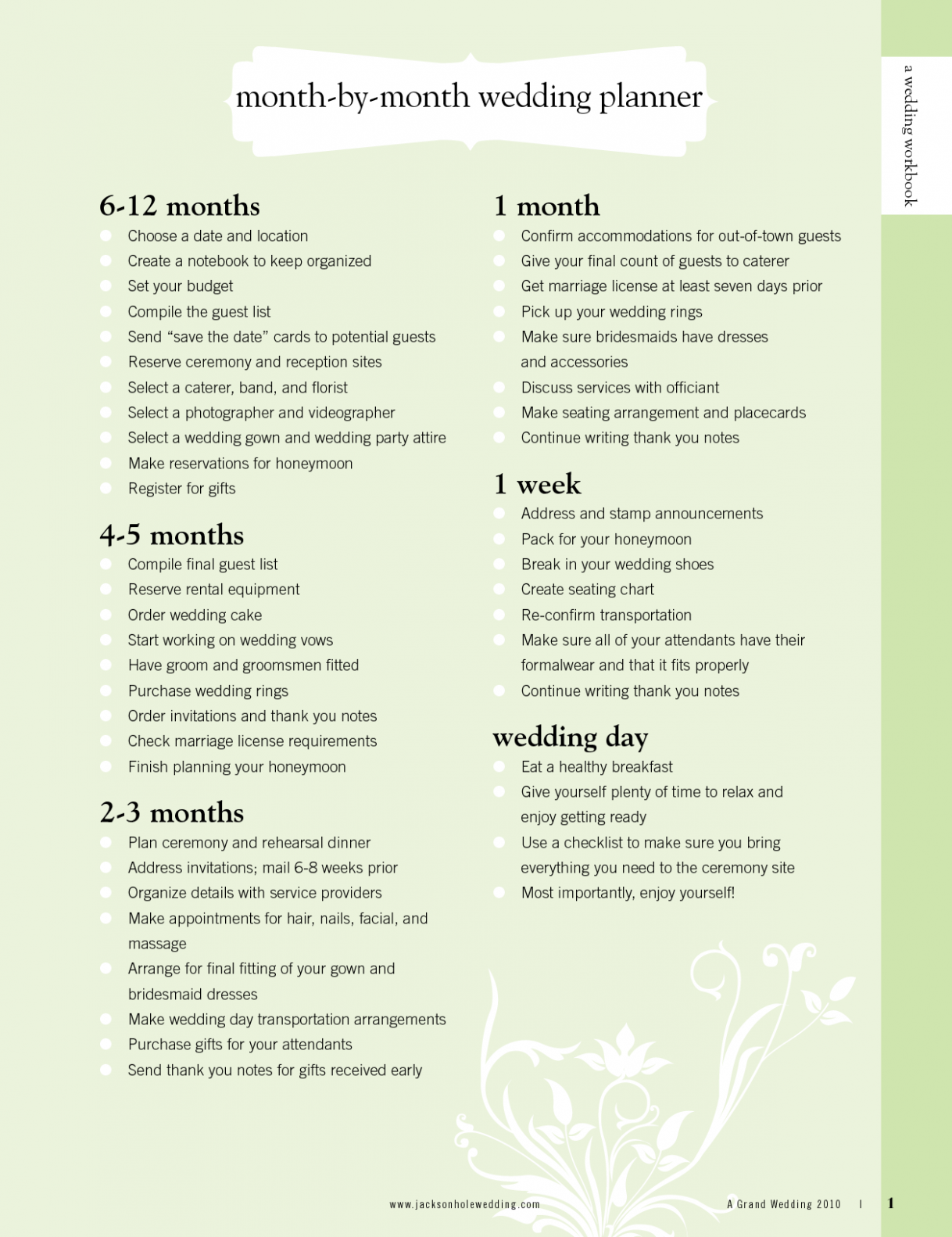 Wedding Checklist 14 Months Brides