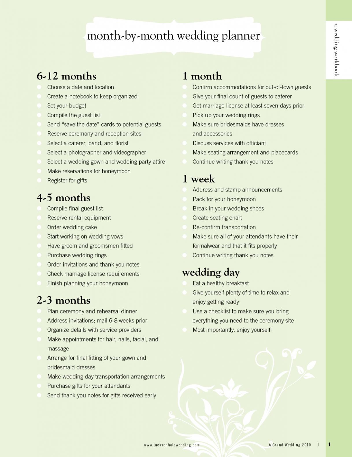 Wedding Checklist 14 Months Brides