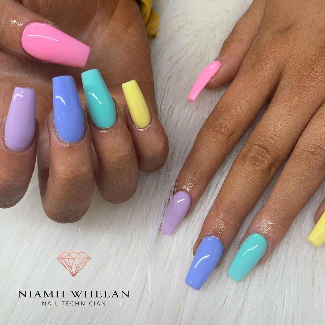 Cute Multi Color Summer Nails On Dark Skin Summernails Summernailart Summernaildesigns Summernai Cute Summer Nails Cute Nail Colors Cute Summer Nail Designs