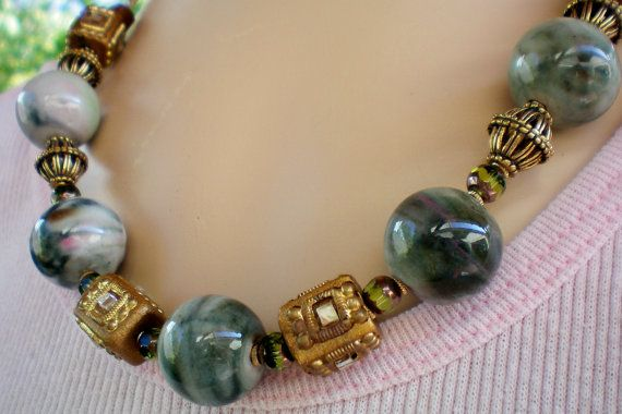 Super chunky green marbeled olive green and by OutsiderArtJewelry, $15.00