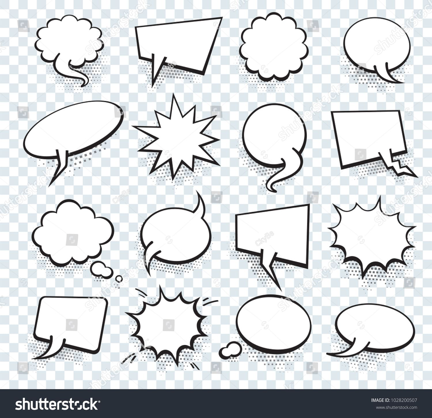 Set Of Blank Template In Pop Art Style Vector Comic Text Speech Bubble Halftone Dot Background Empty Cloud Of Com Hand Lettering Art Comic Text Pop Art Style Speech bubble template with lines