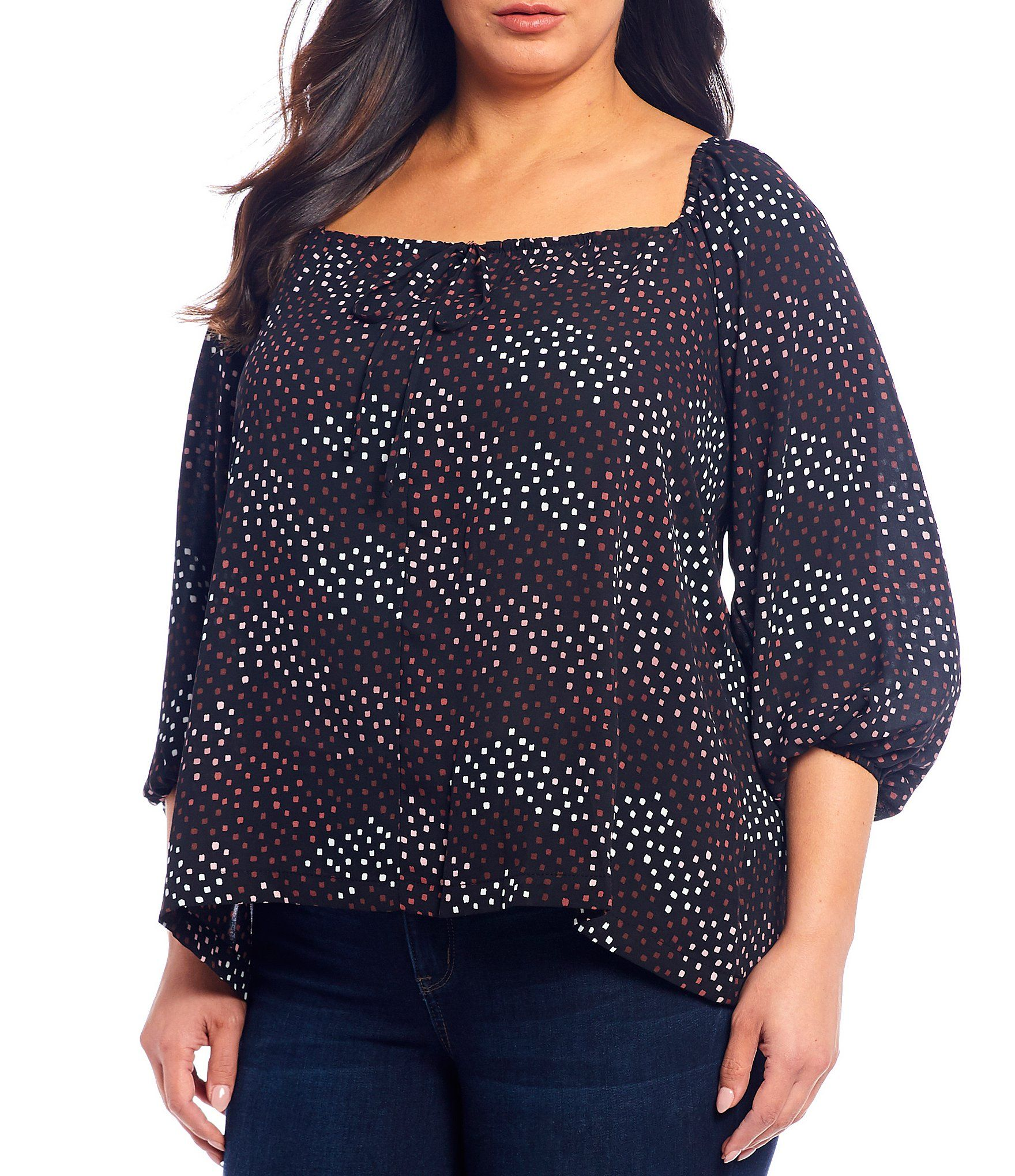Bobeau Plus Size Abstract Dot Print Square Neck 3/4 Sleeve Peasant Blouse | Dillard's 1