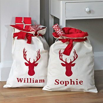 Personalised Merry Christmas Gift Santa Sack Bag Stocking Family Kids Mini Sacks