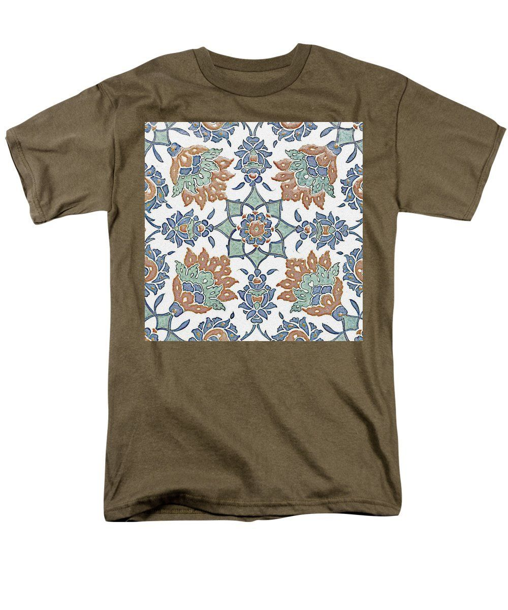 An Ottoman Iznik Style Floral Design Pottery Polychrome, By Adam Asar, No 13k - Men's T-Shirt (Regular Fit)