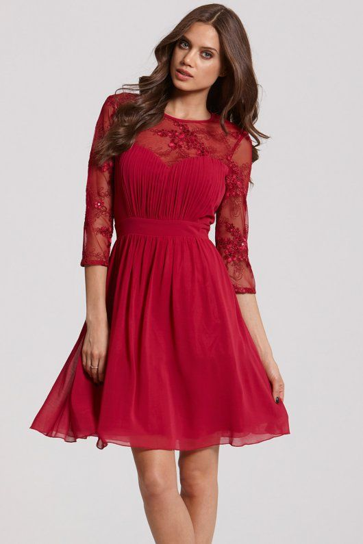 Little Mistress Berry and Gold Sequin Fit and Flare Dress - Little ...