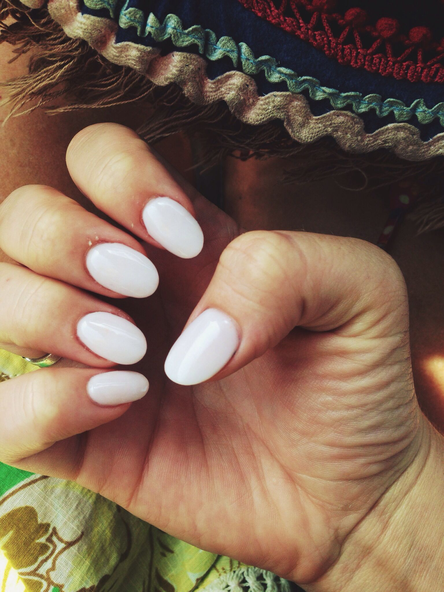 Nexgen white nails• almond shaped• Hate the nail shape but in love ...