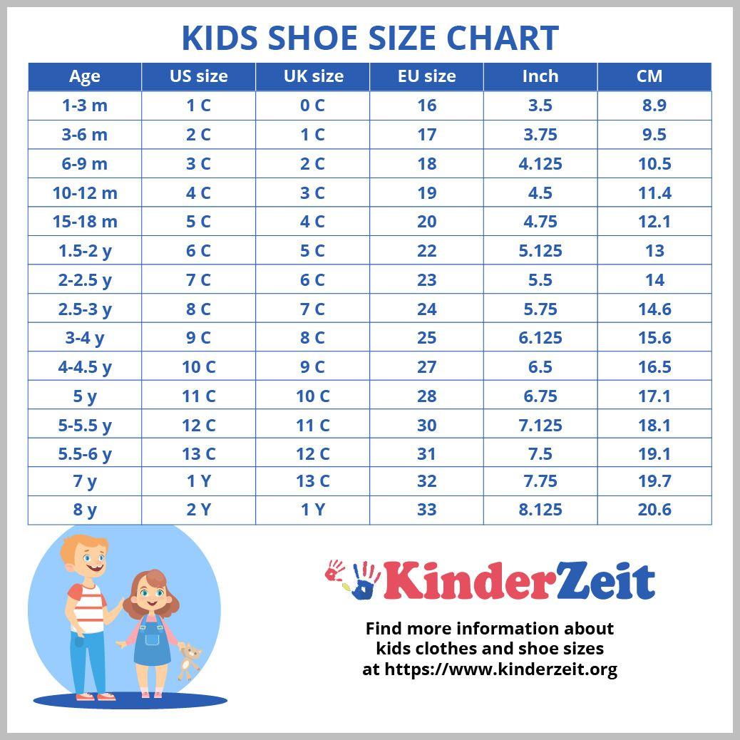 international kids shoe sizes
