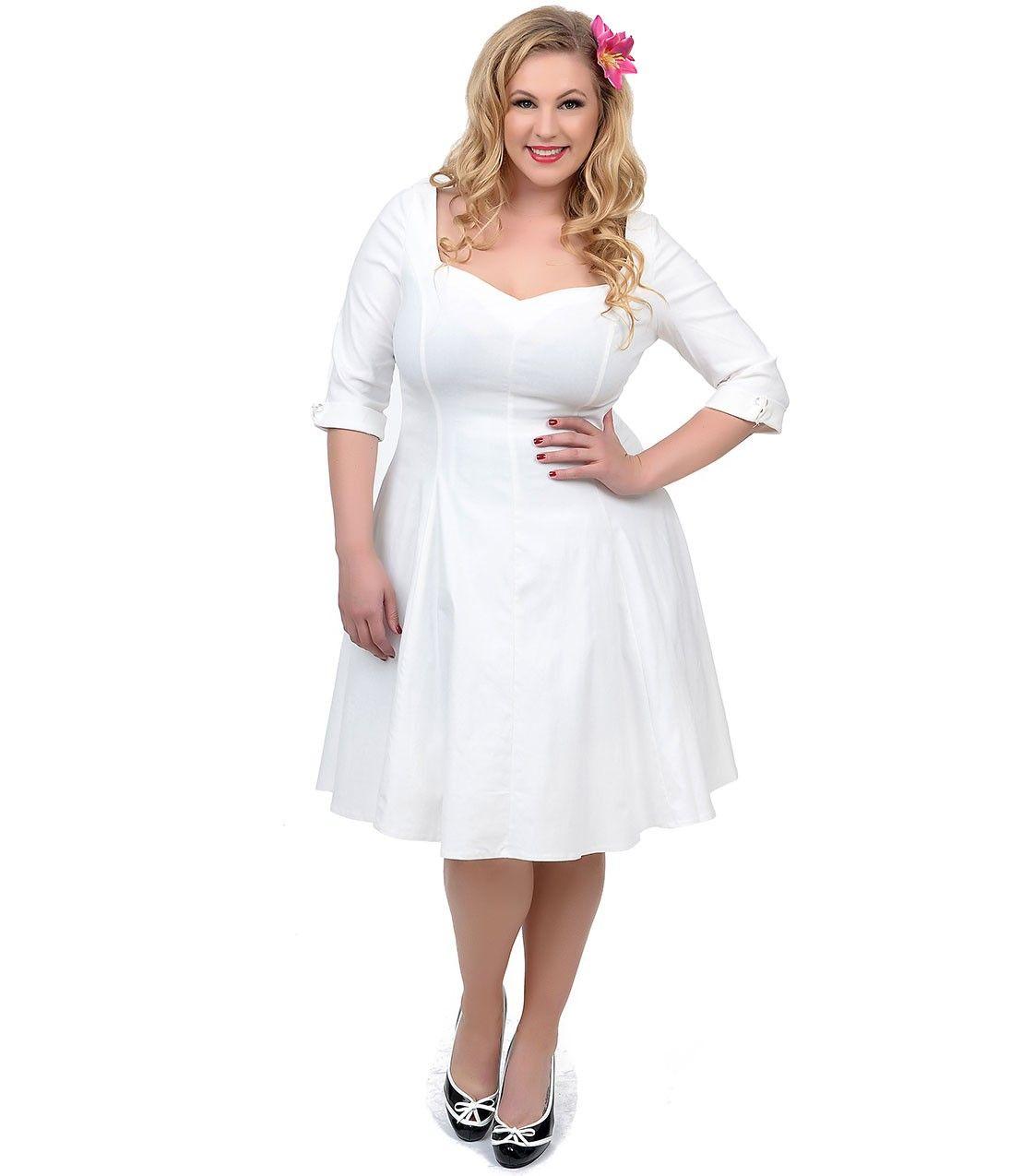 Plus Size 1950s Style Black & White Polka Dot Cap Sleeve Swing ...