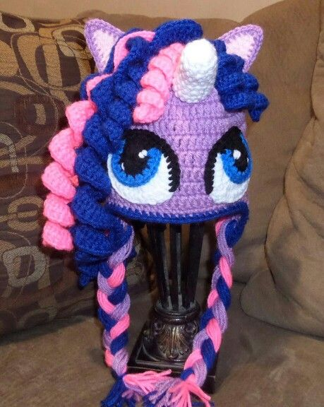 Hat crochet my little pony. Gorro tejido My Little Pony niña ...