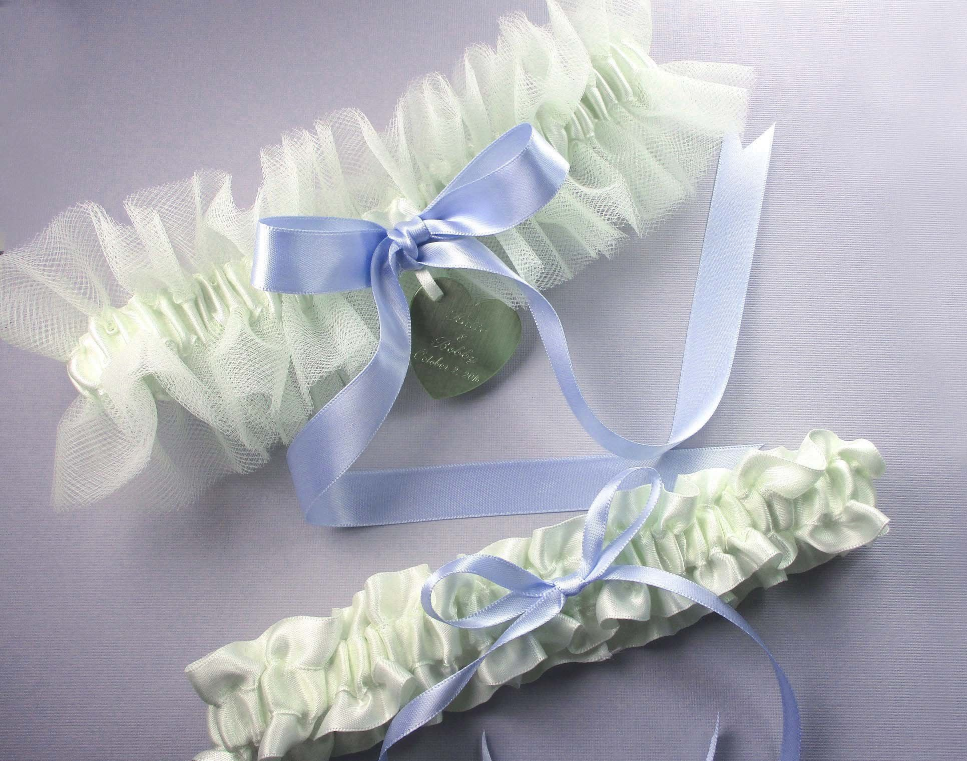 Personalized Ivory Tulle Wedding Garter Set with a Custom Color Bow and Personalized Engraving ...