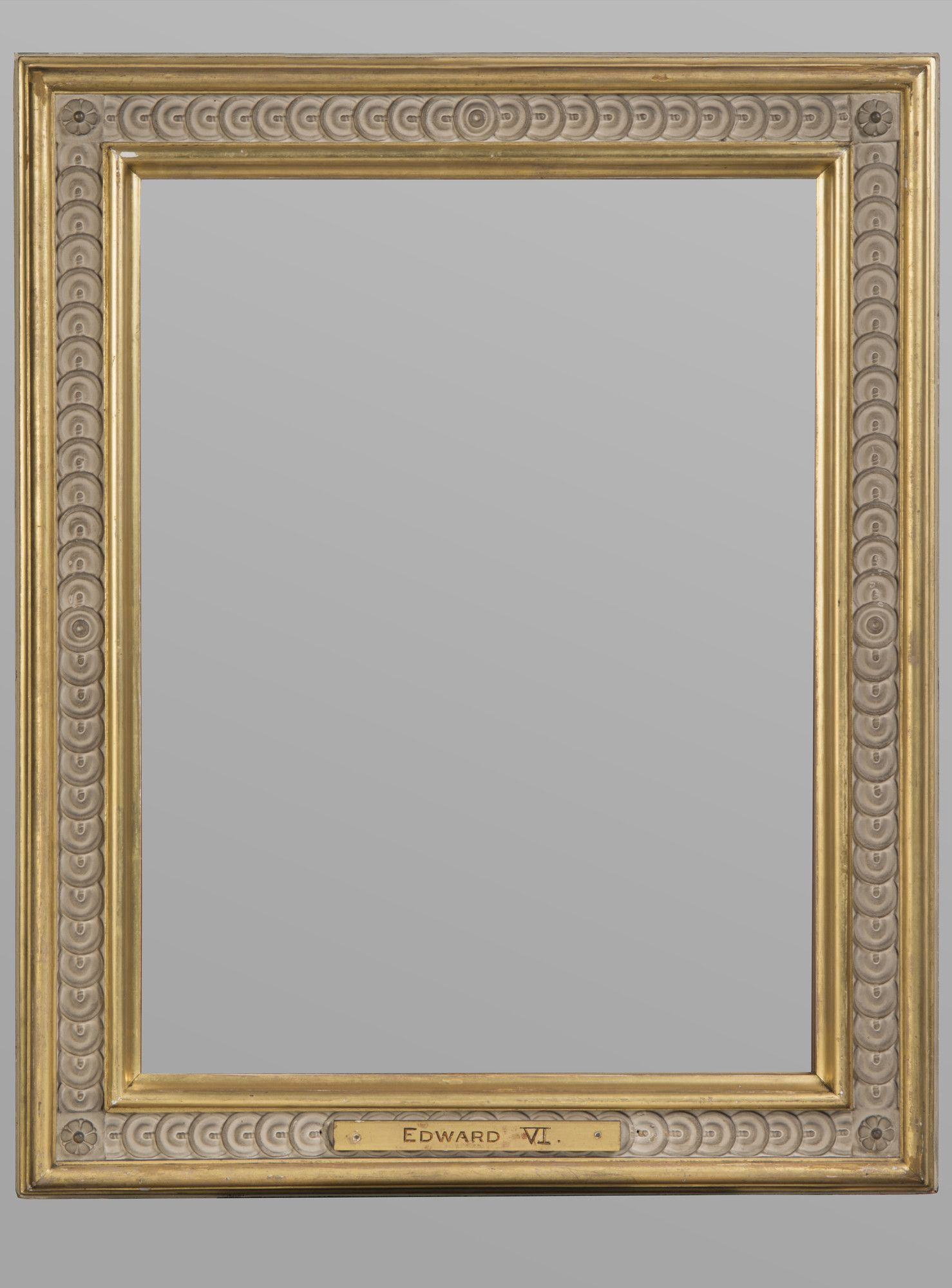 A British 19th-century gilt compo cassetta frame; with coin-and ...