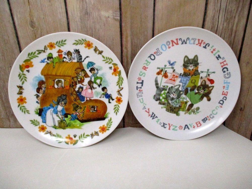 Vintage Nursery Rhyme Melamine Childrens Plates Set Of 2 Ebay Vintage Nursery Plate Sets Nursery Rhymes