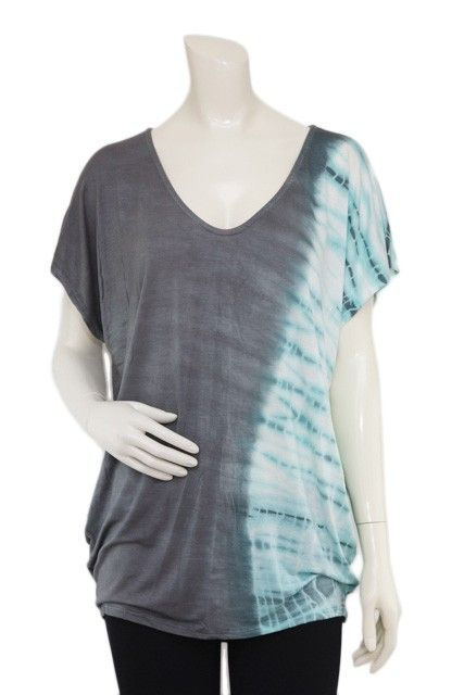 $32.00 - Asphalt gradient and blue green tie dyed wide v-neck dolman short sleeve top.  Available in S, M and L.  Made from 95% rayon and 5% spandex. #PaperCreations #ClothingAndCrafts