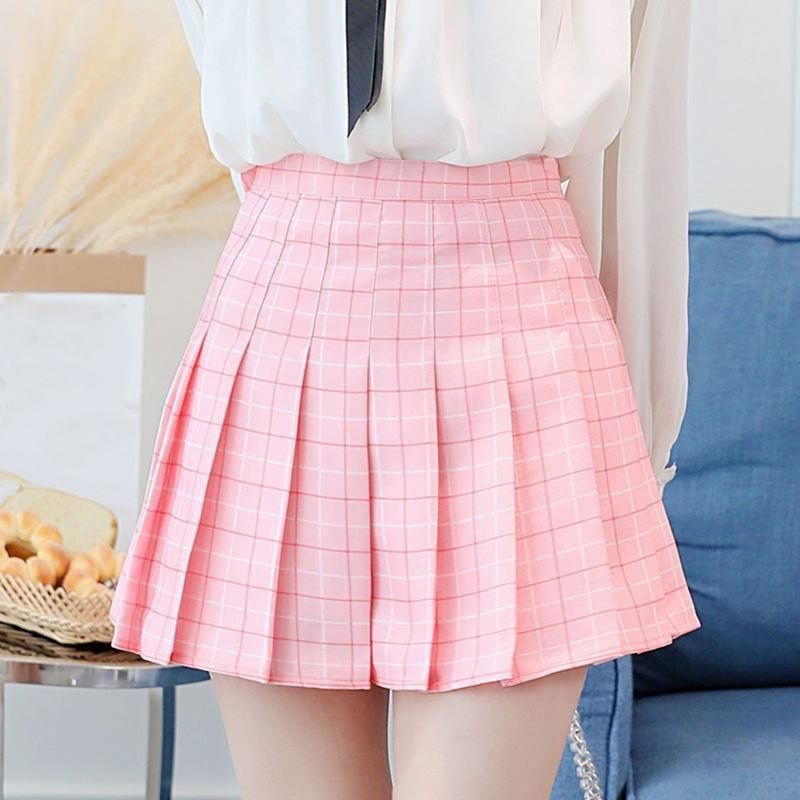 1cc5904324 Women's Kawaii Plaid High Waist Pleated Student Skirts Harajuku A-Line Mini  Skirt Female Korean