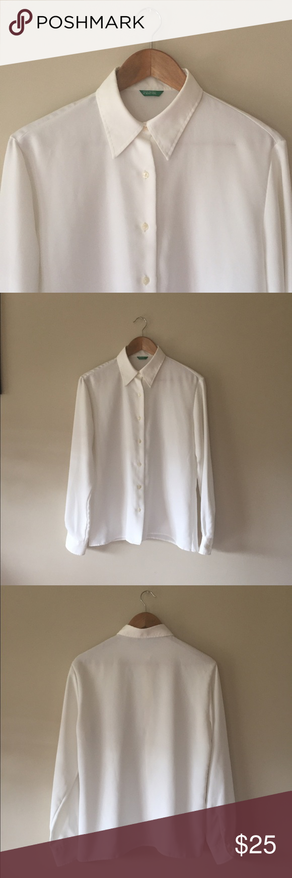 """Benetton white button up shirt This silky smooth top is comfy and crisp! 100% polyester prevents wrinkles. Excellent condition, I bought this to wear oversized but never did. Size says medium but fits like L or XL.   26"""" long, 18"""" shoulders.                                              Ships from Hawaii 🌺 No trades 😇 Reasonable offers welcome 👍🏻 United Colors Of Benetton Tops Button Down Shirts"""