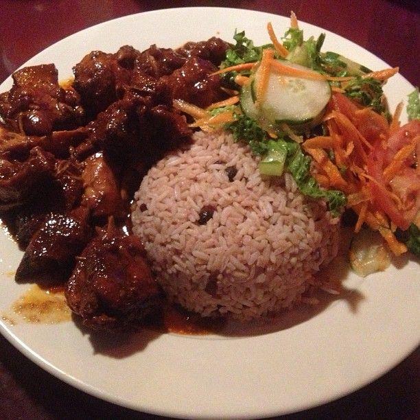 stew chicken rice  peas  salad for din din