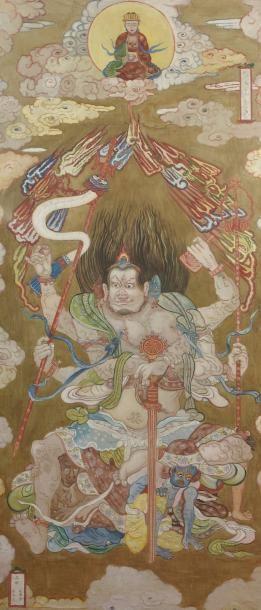 Peinture taoïste à lu0027encre et couleur sur toile, encadrée sous verre