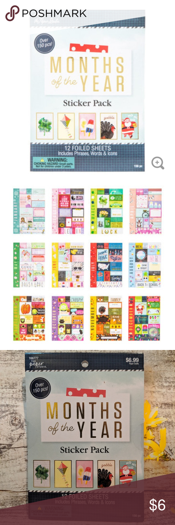 Months of the Year Sticker Pack 150 Foiled Stickers Paper Place