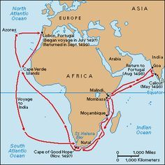 vasco da gama sea route map Vasco Da Gama Route Map 1498 To Africa India Vasco Da vasco da gama sea route map