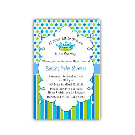 new little prince baby shower invitation card blue polka dots stripes baby boy shower invite also 1st birthday party invitation custom