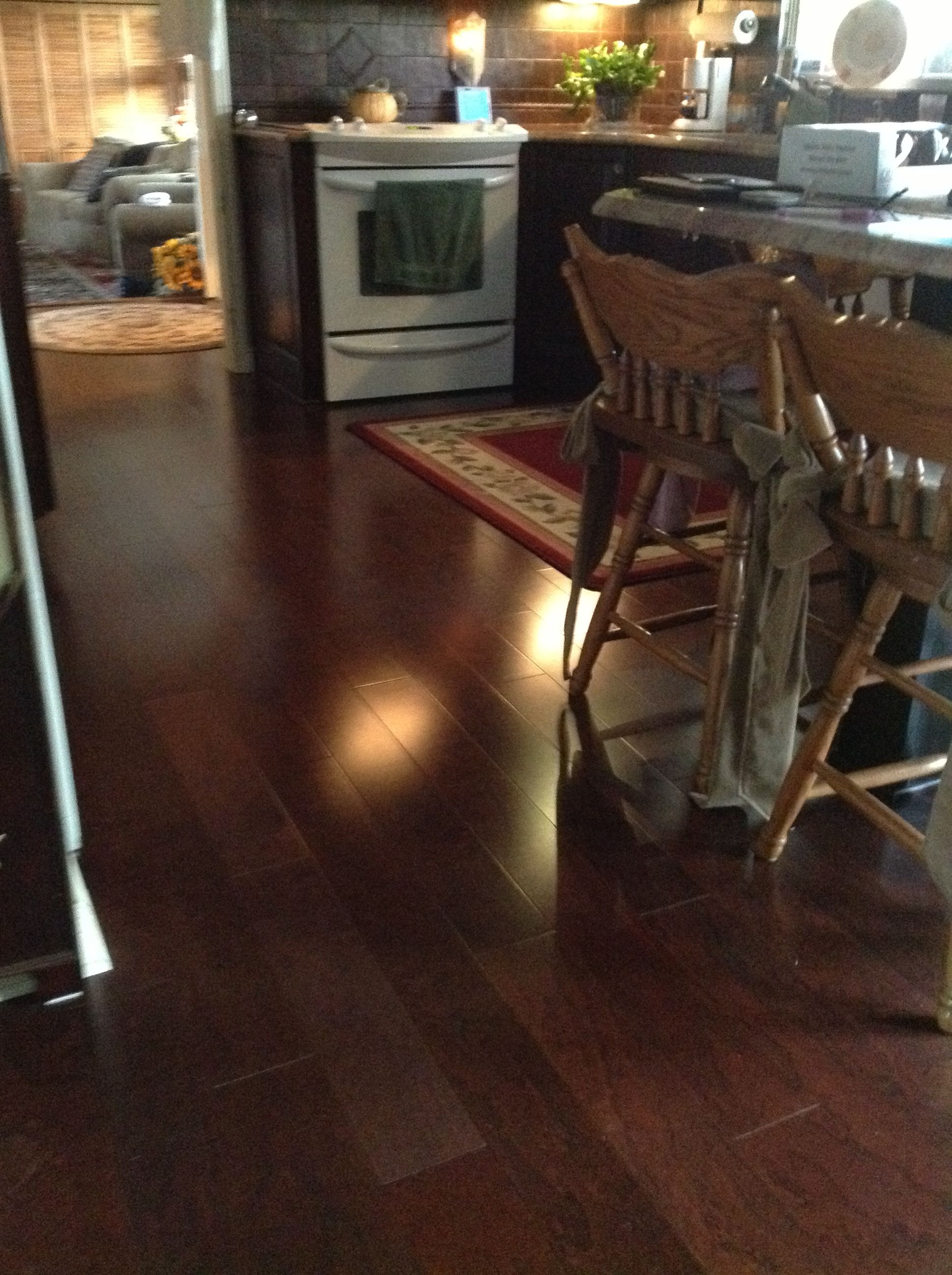 A Semi Gloss Floor With A Cherry Stain Opens Up This Area