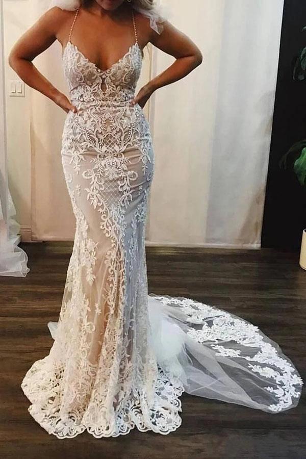 Mermaid Lace Appliques Spaghetti Straps V Neck Ivory Wedding Dresses Mw311 Backl Lace Mermaid Wedding Dress Lace Applique Wedding Dress Applique Wedding Dress