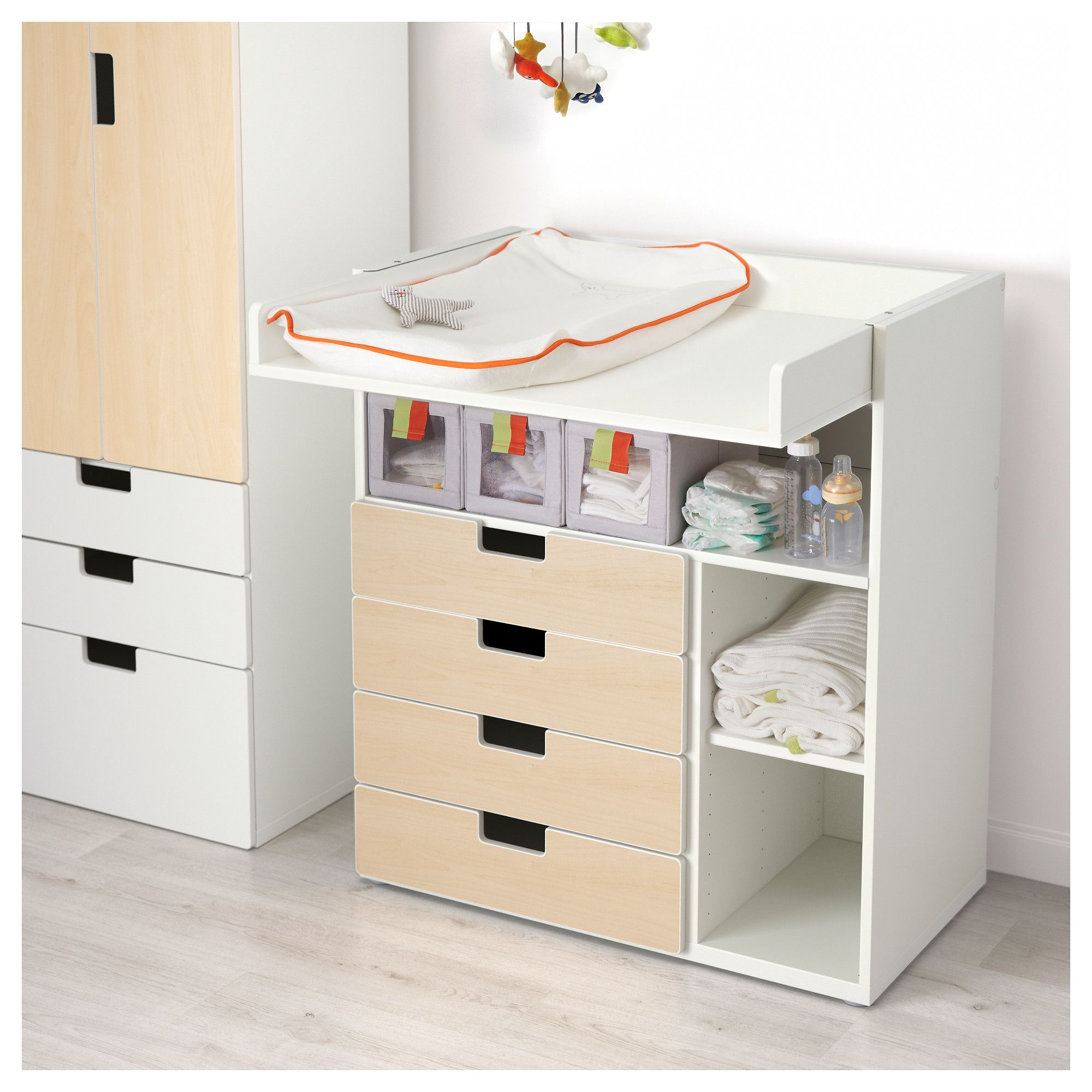 STUVA Changing table with 4 drawers White/birch effect IKEA | Pinterest