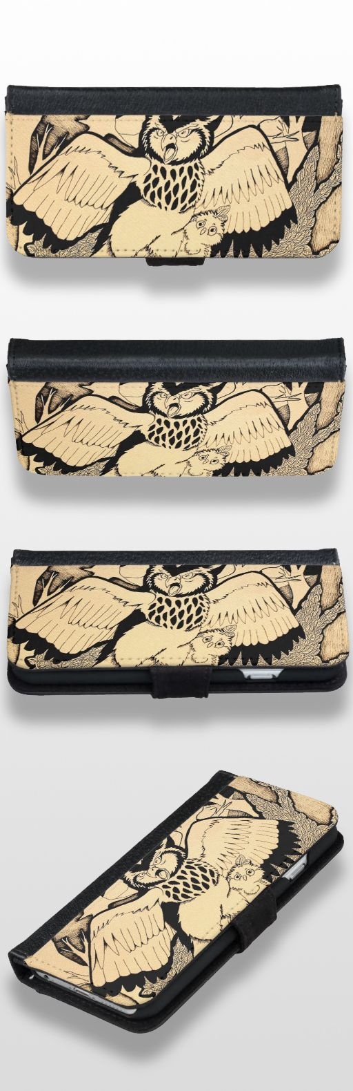 """Owl's Nest"" Black and White Illustrated Wallet Phone Case For iPhone 6/6s  #owl #bird #products #owl_gifts #owl_art #owl_illustration"