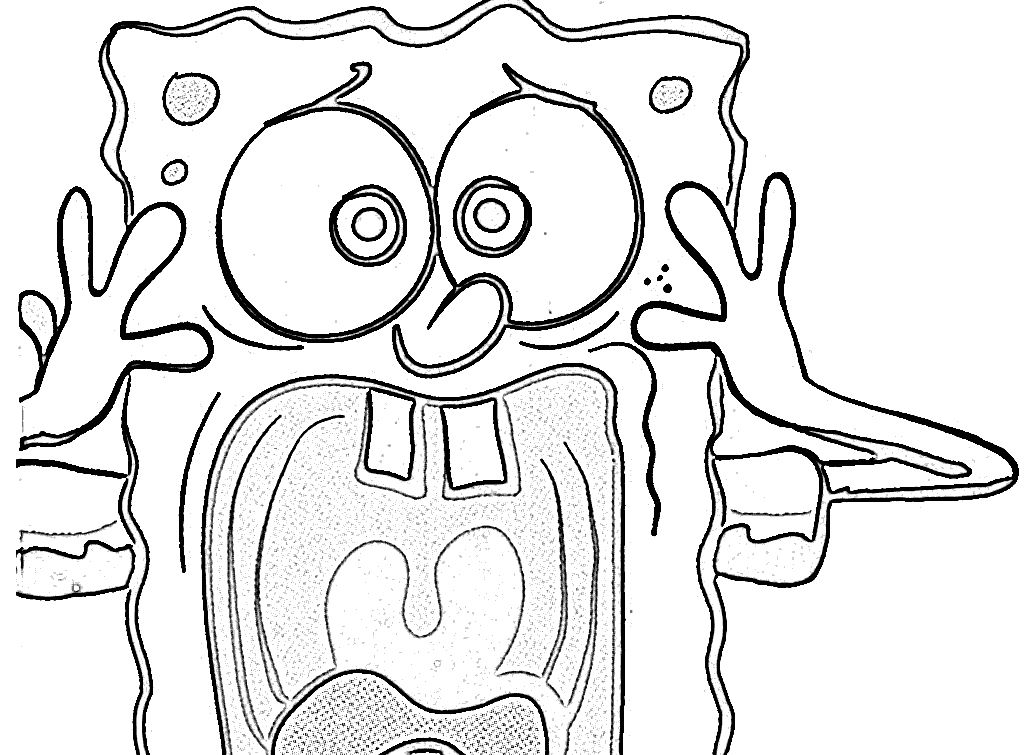 Surprised Spongebob Coloring Page