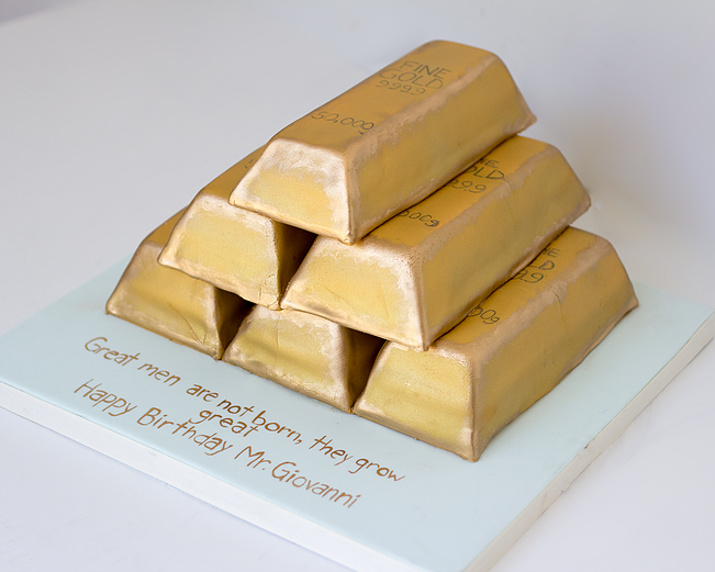 Gold Bars Cake By Annie