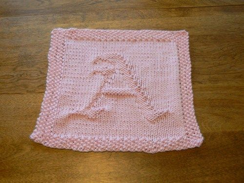 Hand Knit Old English Pastel Pink Letter A Dish Cloth