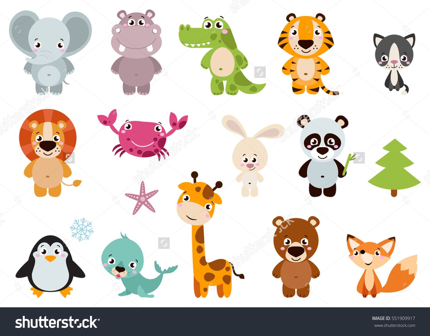 Big Set Isolated Animals Vector Collection Funny Animals Cute Animals Forest Farm Domestic