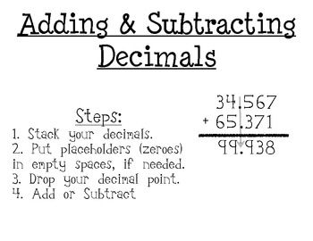 Adding/Subtracting Decimals and Fraction Posters | Student ...