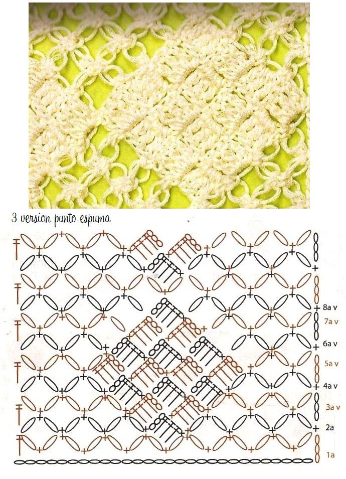 Punto espuma mar calado versiones diferentes | ganchillo | Crochet ...