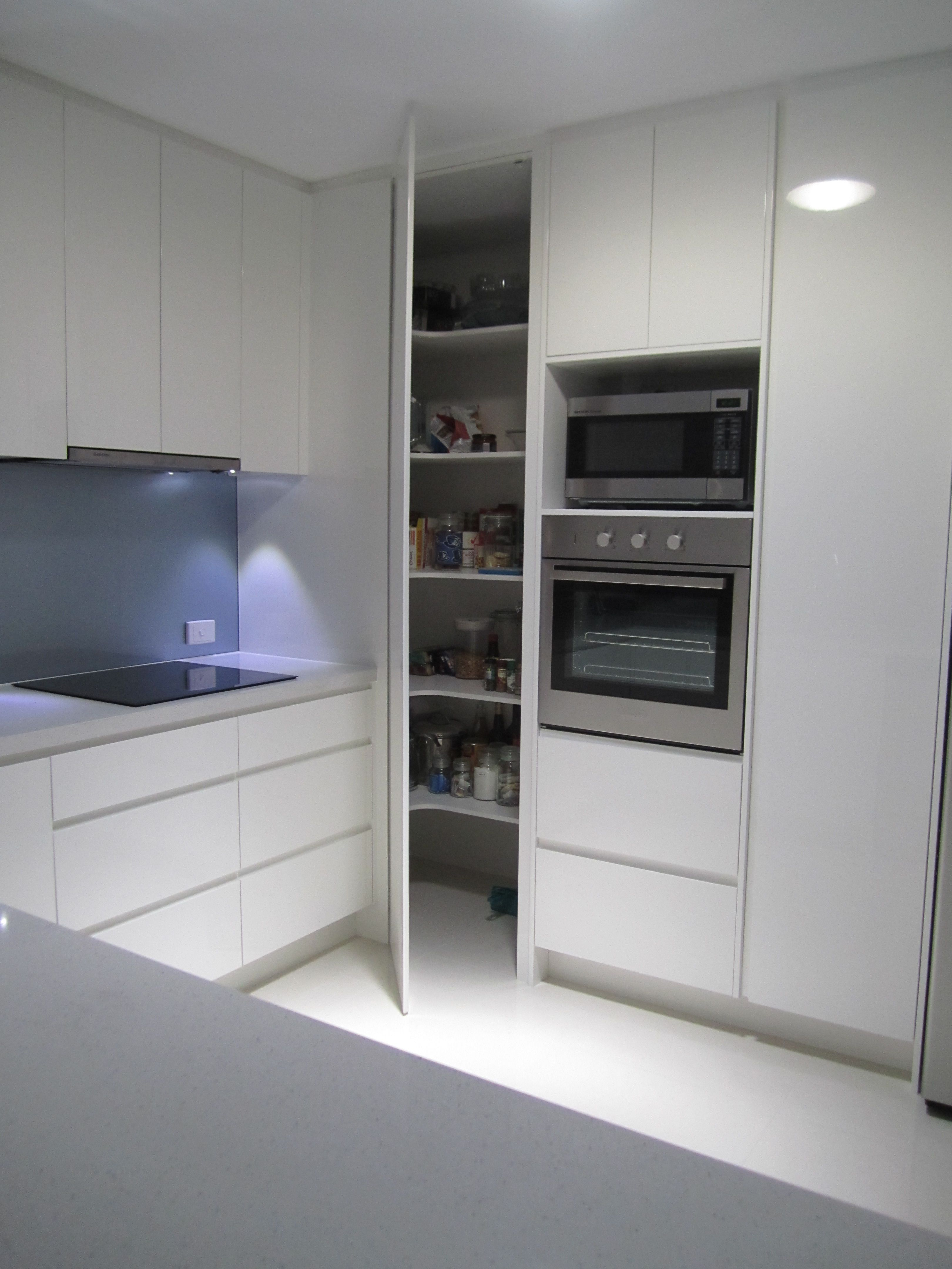 Kitchen cabinets corner oven - Two Ovens In Vertical Alignment With Pantry Door Alongside To The Right Like The Simple