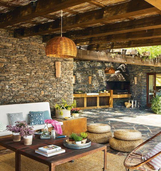 Porche y barbacoa r stico barbacoa r stico y terrazas for Ideas para jardines de campo